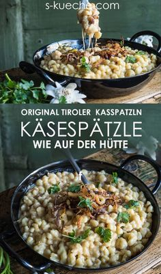 Tiroler Kasspatzln - Käsespätzle - a mountain cheese adventure in winter - Tiroler Kasspatzln – a mountain cheese adventure and winter hut enjoyment - Crockpot Recipes, Vegetarian Recipes, Healthy Recipes, Beginner Vegetarian, Grilling Recipes, Recetas Whole30, Cena Paleo, Vegetarian Lifestyle, 30 Minute Meals