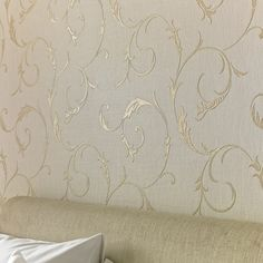 Athena White Gold Wallpaper by Graham and Brown