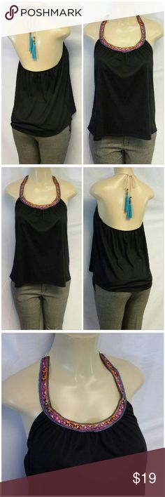 """LA HEARTS Aztec Embroidery Neckline Halter Top  M LA HEARTS, Aztec Embroidery Neckline, Halter Top, size  M, solver tone beads with turquoise blue 3"""" tassel on necktie rope, very soft, semi sheer but black, semi crinkly material, elastic stretch across back, 97% polyester, 3% spandex.  No measurements due to too many variables such as how high or low the tie is tied and how far the elastic back is stretched. LA Hearts Tops"""