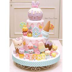 1st Birthday Cake For Girls, Candy Birthday Cakes, Ice Cream Birthday Cake, Pretty Birthday Cakes, Ice Cream Party, Fancy Cakes, Cute Cakes, Torta Candy, Girl Cakes
