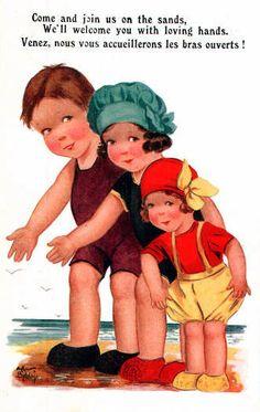 Ilustraciones antiguas de niños.