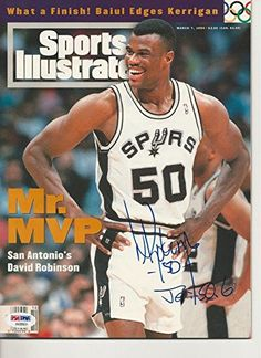 """DAVID ROBINSON Signed """"Mr. MVP"""" SPORTS ILLUSTRATED with COA (NO Label) - PSA/DNA Certified - Autographed NBA Magazines *** For more information, visit image link."""
