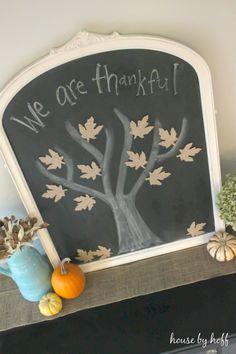 Chalkboard tree with burlap leaves...great fall décor idea!