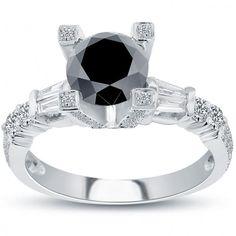2.60 Carat Certified Natural Black Diamond Engagement Ring 14k White Gold - Thumbnail 1