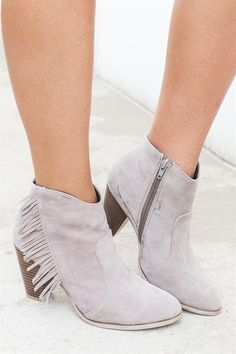 2c0c051cfac These western girl fringe ankle heel booties were definitely made for  walking! They are crafted