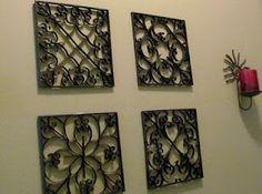 Rejas hechas de cartón. Excelente!   Para hacerlas entra aqui: http://vctryblogger.blogspot.mx/2011/02/rejas-falsas-para-decorar-la-pared.html