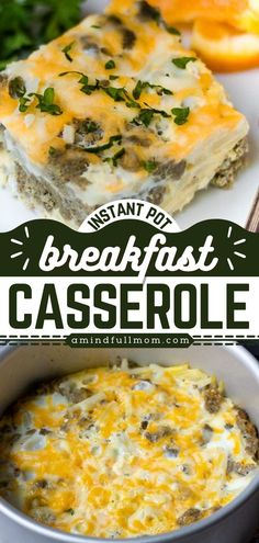 Busy mornings call for this breakfast casserole recipe! Made in the Instant Pot, the classic sausage breakfast casserole is ready in 30 minutes. So quick and easy, yet hearty and filling! Save this pin! Breakfast Casserole With Biscuits, Easy Breakfast Casserole Recipes, Overnight Breakfast Casserole, Sausage Breakfast, Instant Pot, Cooker, Bacon, Easy Meals, Mornings