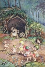 Gumnut Babies Meeting a Koala - Peg Maltby Vintage Children's Books, Vintage Stuff, Children's Book Illustration, Book Illustrations, Fairy Art, Australian Artists, Magical Creatures, Art Auction, Faeries