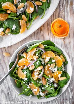 Baby spinach, crunchy almonds, red onions, and clementines bursting with sweet juice are combined to make this yummy Spinach and Clementine Salad.