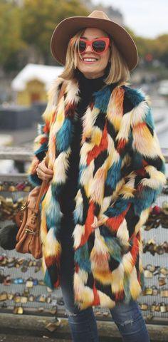 Veste fausse fourrure multicolore