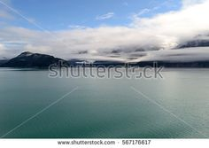 Cloud covered mountains of Glacier Bay National Park, Alaska