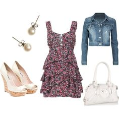 flower dress with denim jacket could even put some capri under it! :)