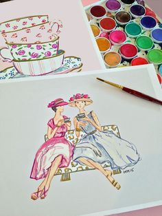 Happy Sunday! Today I will be doing some live fashion sketching at a tea party for a bride and her bridesmaids…..  I can't think of a nicer way to spend the day….