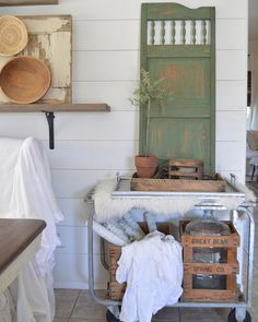 Miss Mustard Seed boxwood paint, chippy, farmhouse style