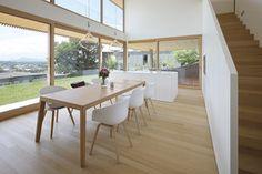Haus DB Klaus — ARCHITEKTUR Jürgen Hagspiel Concrete Wood, House On A Hill, Villa, Dining Table, Design, House Ideas, Furniture, Houses, Home Decor