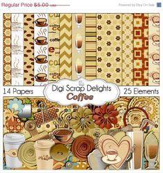 40 Off SALE Coffee Digital Scrapbook Kit by DigiScrapDelights