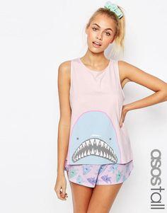 c6b1c4a256 ASOS Tall   ASOS TALL Shark Head Short & Frill Vest Pyjama Set at ASOS  Schlafanzug
