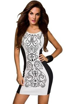 Amour- Sexy Trims Tank Dress Bodycon Clubwear (White Black Paisley)