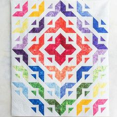 All Roads Quilt Kit | Craftsy.  Rainbow quilt kit by Angela Walters.  #quilting #rainbowquilt affiliate link