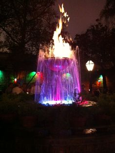 The fire and water fountain at Pat O'Brien's in New Orleans.