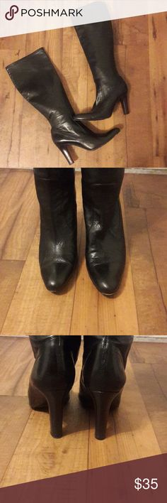 Cole Haan Black Leather  Boots Size 8.5 Cole Haan Black Leather Boots Size 8.5 , super soft leather in great used condition. Made in Italy Cole Haan Shoes Heeled Boots