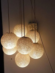 Vintage Sugar Ball cluster, 7 glass made lights, seventies, mint condition Vintage Space, How To Make Light, Space Age, Mint, Sugar, Ceiling Lights, The Originals, Lighting, Glass