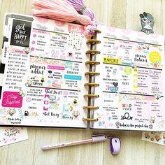 Full-Week spread - Get Your Happy On - Planner Layout, Goals Planner, Planner Pages, Planner Stickers, Planner Ideas, Kawaii Planer, Lps, Create 365 Happy Planner, Planner Decorating