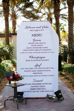Cool-looking wedding menu. I'd like to personalize my wedding menu with meals I've made with my SO :) Red Wedding, Wedding Pics, Wedding Ideas, Lesbian Wedding, Wedding Vintage, Formal Wedding, Elegant Wedding, Wedding Decor, Budget Wedding
