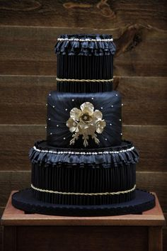 black and gold pleated wedding cake - Cake by beth