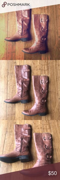 """BCBG Tan/Brown Tall Riding Boots BCBG Tan/Brown Tall Riding Boots - Size 8 1/2. Distressed Tannish Brown (warm brown, whiskey colored; not dark brown,) tall riding boots (goes to knees;) side zipper with stretch back to allow for all size calves; side brass hardware; stacked 1.25"""" heel. There are some scuffs on front (unnoticeable when wearing and tend to blend bc of overall distressed look,) and also on back heels (again not noticeable when wearing.) These transition perfectly from winter…"""