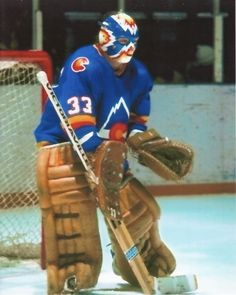 Veteran goalie, Doug Favell, joined the Colorado Rockies via trade prior to the season. In his first season in the Mile High City, Favell helped the Rocki Bruins Hockey, Hockey Goalie, Hockey Games, Ice Hockey, Rangers Hockey, Hockey Helmet, Colorado Rockies, Colorado Avalanche, Sports Images