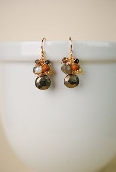 dia012 unique handcrafted gold filled top cluster pearl pyrite gemstone pendant earrings for women