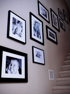 stairway gallery by mai Stairway Pictures, Stairway Gallery Wall, Stair Gallery, Stairwell Wall, Wood Staircase, Gallery Walls, Picture Arrangements, Photo Arrangement, Frame Arrangements