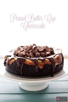 Peanut Butter Cup Cheesecake is the ultimate form of chocolate peanut butter indulgence and tastes as impressive as it looks! Peanut Butter Cup Cheesecake, Peanut Butter Cups, Chocolate Peanut Butter, Cheesecake Recipes, Dessert Recipes, Cheesecake Crust, Plain Cheesecake, Chocolate Drizzle, Decadent Chocolate