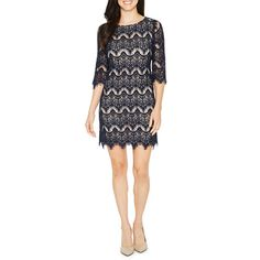 FREE SHIPPING AVAILABLE! Buy Ronni Nicole 3/4 Sleeve Lace Waves Shift Dress at JCPenney.com today and enjoy  49.00 great savings.