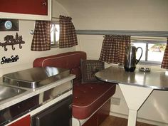 red, white and chrome brightens things up Retro Travel Trailers, Travel Trailer Interior, Camper Interior Design, Vintage Camper Interior, Travel Trailer Camping, Travel Trailer Remodel, Vintage Campers Trailers, Retro Campers, Rv Interior