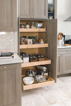 These built in roll trays are a great way to keep your pantry efficient and organized. Your Home Depot design specialist can show you how the trays can be customized in any Martha Stewart Living™ kitchen.