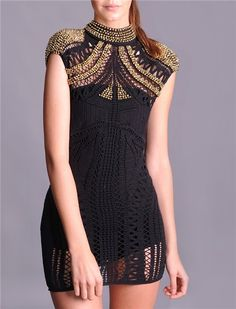 black crochet dress with gold bead embroidery.