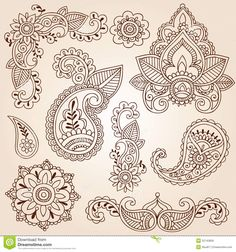 Henna Doodles Mehndi Tattoo Design Elements Set