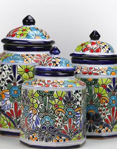 Mexican Talavera Kitchen Canisters - Glass Kitchen Canisters Hacienda Kitchen, Hacienda Style Homes, Spanish Tile, Spanish Colonial, Mexican Furniture, Talavera Pottery, Ceramic Flower Pots, Kitchen Canisters, Handmade Art