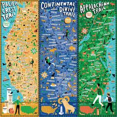 """""""Triple Crown of Hiking by Nate Padavick"""" by They Draw & Cook & Travel: A trio of maps that contain the 3 routes that make up America's Triple Crown of Hiking: The Appalachian Trail, The Pacific Crest Trail, and The Continental Divide Trail Pacific Crest Trail, Thru Hiking, Hiking Tips, Camping And Hiking, Backpacking Tips, Hiking Gear, Hiking Shoes, Hiking Clothes, Hiking Food"""