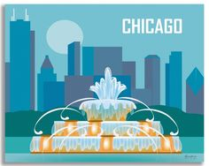 Chicago artwork depicts the Buckingham Fountain artwork as part of a series of midwest prints from Loose Petals, by artist Karen Young. A Chicago souvenir gift.
