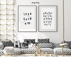 "Simple and cute space themed nursery prints featuring a rocket ship, stars and many planets.Alphabet and number posters perfect for a little boys room decor or for a baby boy nursery decor. ""Never stop exploring"" kids room decor art or playroom wall art. Nursery art from outer space. 🖤 Get excited about decorating for your little one! #spaceprints #spacewallart #sunnyandpret"