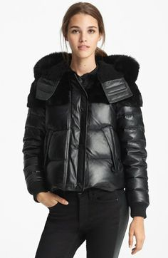 Burberry Brit 'Arnsfield' Quilted Leather Jacket with Genuine Mix Fur Trim   Nordstrom
