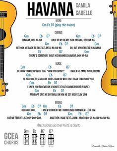 Havana a different version - simone Easy Ukelele Songs, Ukulele Tabs Songs, Ukulele Fingerpicking Songs, Ukulele Songs Beginner, Guitar Songs For Beginners, Guitar Chords And Lyrics, Music Theory Guitar, Havana, Beginner Guitar Lessons