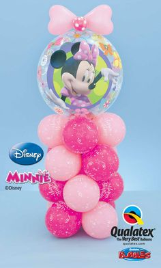 How cute is this Minnie Mouse short column? All pink and topped with a Disney licensed Bubble Balloon®* and a polka dot bow! *Disney licensed product Other items are not Disney licensed products. ©Disney no. Its A Boy Balloons, Baby Balloon, Bubble Balloons, Love Balloon, Minnie Mouse Theme Party, Mickey Mouse Balloons, Minnie Birthday, Balloon Centerpieces, Balloon Decorations Party