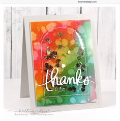Very pretty thin shaker card featuring watercolour background (created w/ Distress re-inkers) by Kristina Werner
