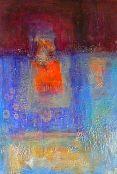 """Amy Longcope, """"Untitled Orange square""""  - reminds me of Redon"""