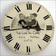 Give a Father's Day gift that reflects Dad's passion!  Is his family his greatest love?  Put a photo of his kids on a clock.
