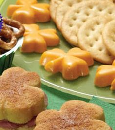 Shamrock Cheese Appetizers - perfect for a St. Patrick's Day party! @Wilton Cake Decorating